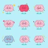 Мозг шаржа делает различную эмоцию Стоковые Фотографии RF