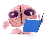 мозг 3d читает книгу иллюстрация штока