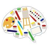 Мозг ` s художника, плоский стиль также вектор иллюстрации притяжки corel Стоковое Изображение RF