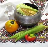 Мозоль, перцы, томаты стоковая фотография rf