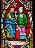 Моисей и Аарон - цветное стекло стоковые фотографии rf