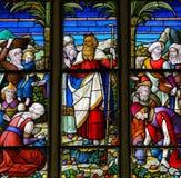 Моисей - цветное стекло в соборе Mechelen Стоковые Изображения RF