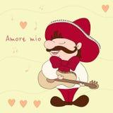 Мои влюбленность & x28; Mio& x29 Amore; Мексиканец с sombrero и гитарой Иллюстрация Sampl шуточная Мексиканская традиция Стоковые Фотографии RF