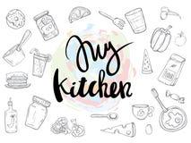 Мои цитаты связанные кухней установили плакат иллюстрация вектора
