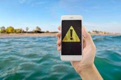 Мой сигнал тревоги телефона на море Стоковое Изображение RF