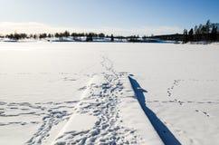 Мола в замороженном озере покрытом снегом в Bogstadvannet Осло Норвегии стоковое фото