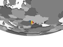 Молдавия с флагом на глобусе иллюстрация вектора