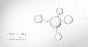 молекула Абстрактная футуристическая структура молекулы wireframe 3d микро- со сферой иллюстрация вектора