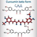 Молекула куркумина Форма Keto Оно использовано как травяное дополнение бесплатная иллюстрация