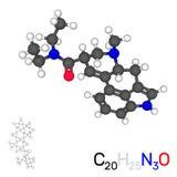 Молекула модели LSD белизна изолированная предпосылкой вектор 3d Стоковое Фото