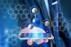 молекула перевода 3d на показанное на медицинском интерфейсе Стоковые Фотографии RF