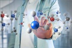 молекула перевода 3d на показанное на медицинском интерфейсе Стоковое Фото
