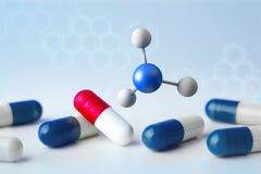 молекула перевода 3d на показанное на медицинском интерфейсе Стоковые Изображения
