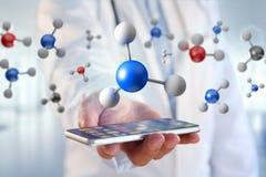молекула перевода 3d на показанное на медицинском интерфейсе Стоковые Изображения RF