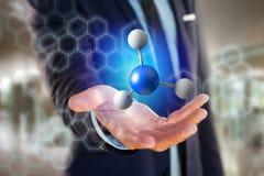 молекула перевода 3d на показанное на медицинском интерфейсе Стоковые Фото