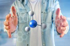 молекула перевода 3d на показанное на медицинском интерфейсе Стоковое Изображение