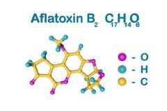 Молекулярная структура афлатоксина B2 Атомы представлены как сферы с кодированием по цвету: пинк кислорода, свет водопода стоковые изображения rf