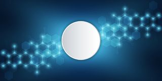 Молекулярная структура и химические элементы абстрактные молекулы предпосылки Наука и концепция цифровой технологии вектор иллюстрация вектора