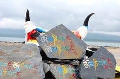 молитва mani трясет тибетских яков стоковые изображения