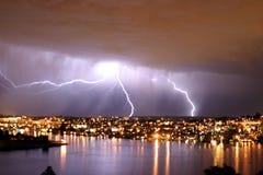 молния над seattle Стоковая Фотография