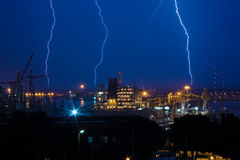 Молния на гавани Стоковое фото RF