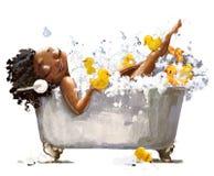 Молодая африканская женщина в ванне иллюстрация вектора