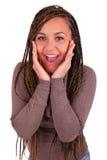 Молодая африканская женщина изолированное Surprised стоковое изображение