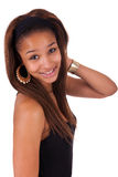 Молодая африканская чернота женщины в белизне предпосылки стоковые фотографии rf