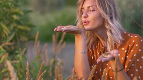 Молодая белокурая женщина дуя на руках с золотыми яркими блесками в поле на заходе солнца движение медленное акции видеоматериалы