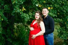 Молодая беременная женщина и ее объятие супруга в зеленом парке стоковое изображение rf