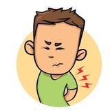 Молодая боль чувства парня в его назад Плоский значок дизайна Плоская иллюстрация вектора белизна изолированная предпосылкой бесплатная иллюстрация