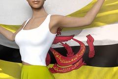 Молодая дама в яркой юбке держит флаг в руках за ее задней частью на бе иллюстрация вектора