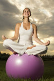 Молодая девушка брюнет выполняя йогу Стоковые Фотографии RF
