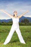 Молодая девушка брюнет выполняя йогу Стоковая Фотография