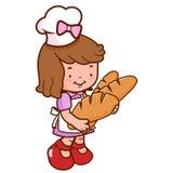 Молодая девушка хлебопека держа ломти хлеба иллюстрация вектора