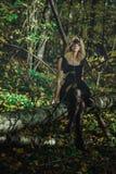 Молодая добросердечная ведьма в черном платье с черной маской в мистическом лесе в различных представлениях Обрабатывать искусств стоковые фото