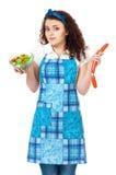 Молодая домохозяйка на белизне Стоковое Фото