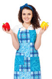 Молодая домохозяйка на белизне Стоковое Изображение RF