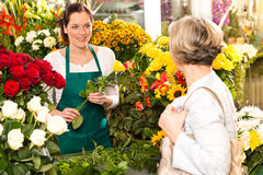 Молодая женщина аранжируя продавать рынка магазина цветков стоковые изображения