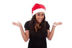 Молодая женщина афроамериканца нося шлем santa Стоковое Изображение RF