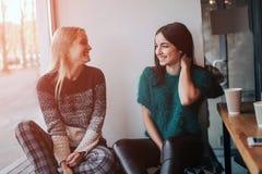 Молодая женщина 2 беседуя в кофейне 2 друз наслаждаясь кофе совместно Стоковые Изображения RF