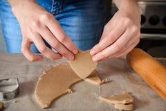 Молодая женщина варит домодельные печенья имбиря Стоковое Фото