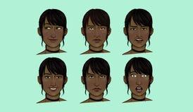 Молодая женщина выражений лица Стоковые Изображения RF