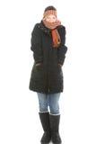 Молодая женщина в одежде зимы Стоковая Фотография