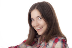 Молодая женщина в платье людей Стоковые Фото