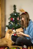 Молодая женщина в шляпе партии костюма северного оленя вскользь платья нося с ее собакой сидит в живущей комнате Стоковое Фото