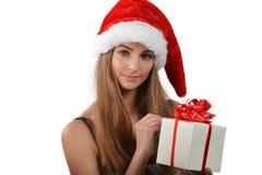 Молодая женщина в Santa Claus Стоковое Изображение