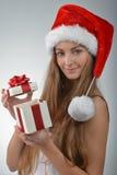 Молодая женщина в Santa Claus Стоковые Изображения