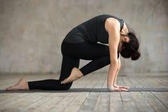Молодая женщина делая колено к тренировке скручиваемости лба Стоковые Фото