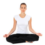 Молодая женщина делая тренировку йоги стоковые фотографии rf